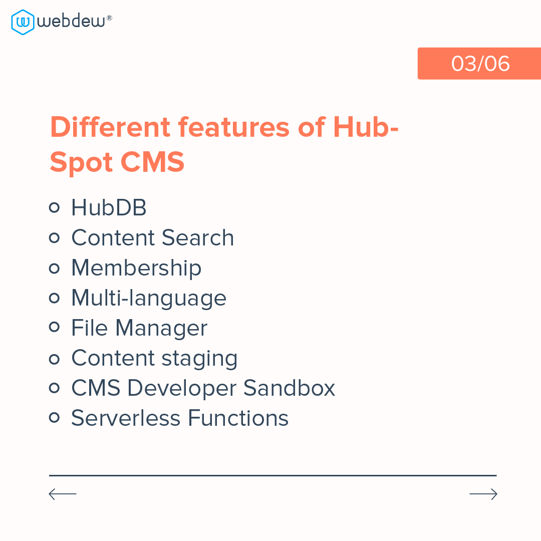 3- different features of HubSpot cms