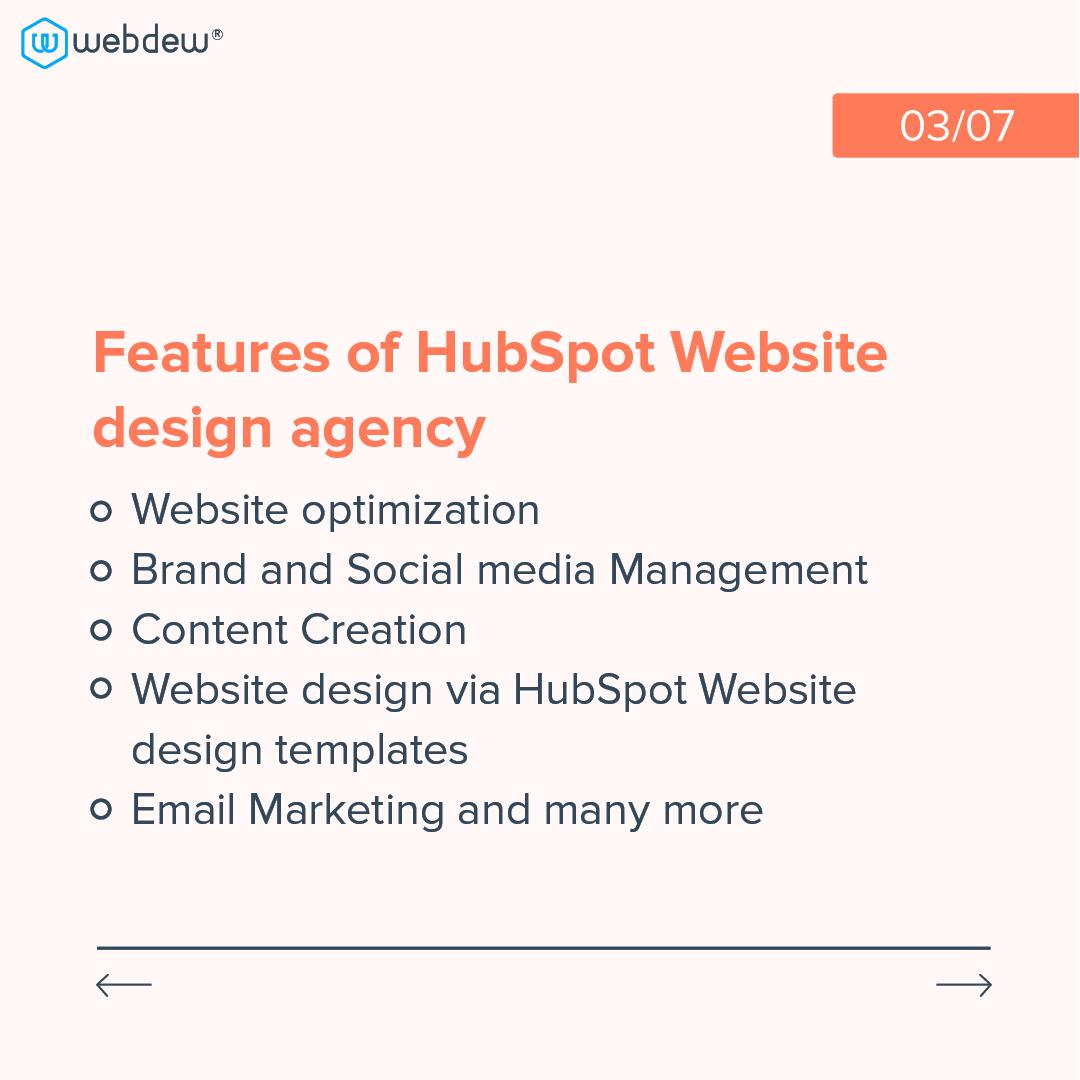3- features of HubSpot website design agency