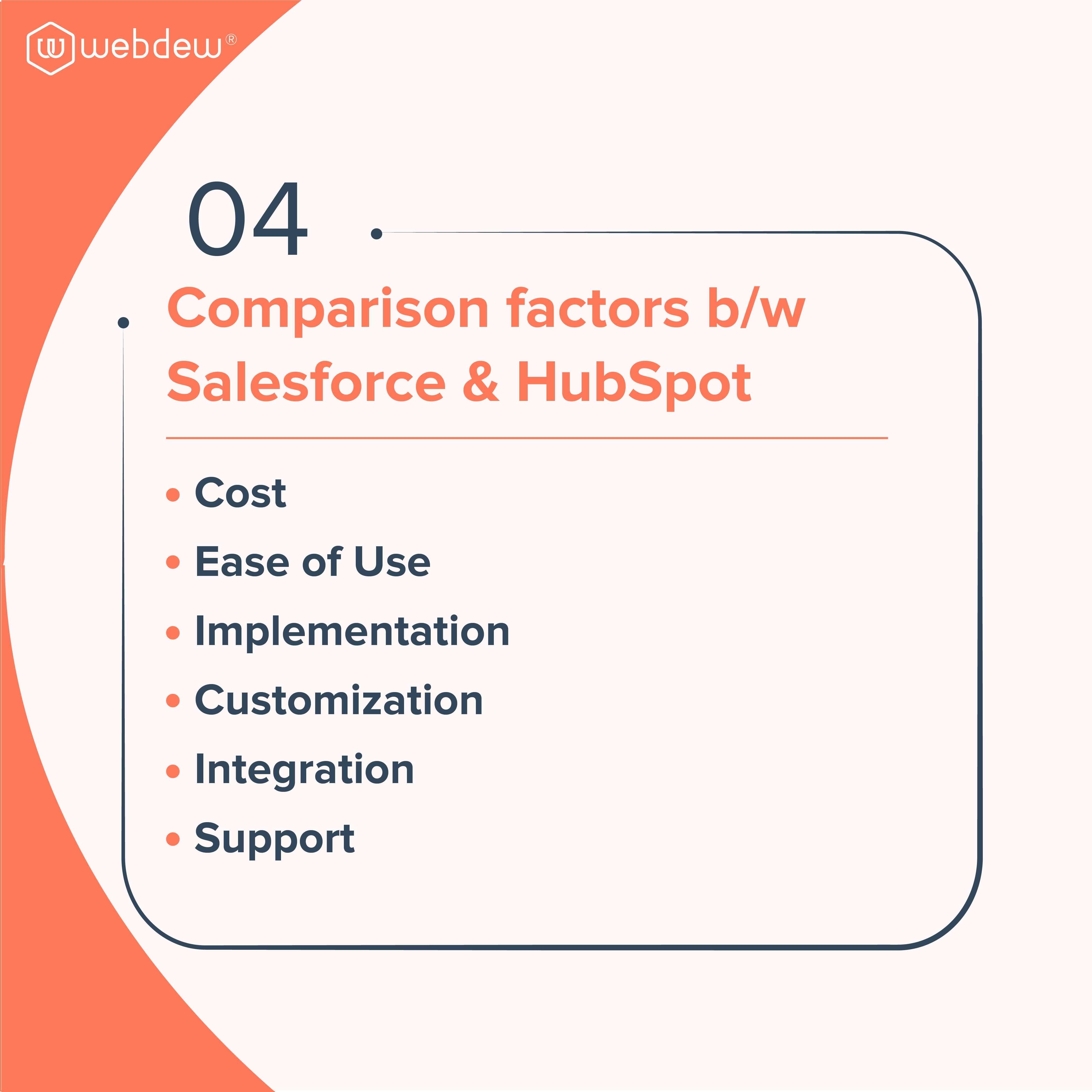 5. comaprison factors b.w hubspot and salesforce