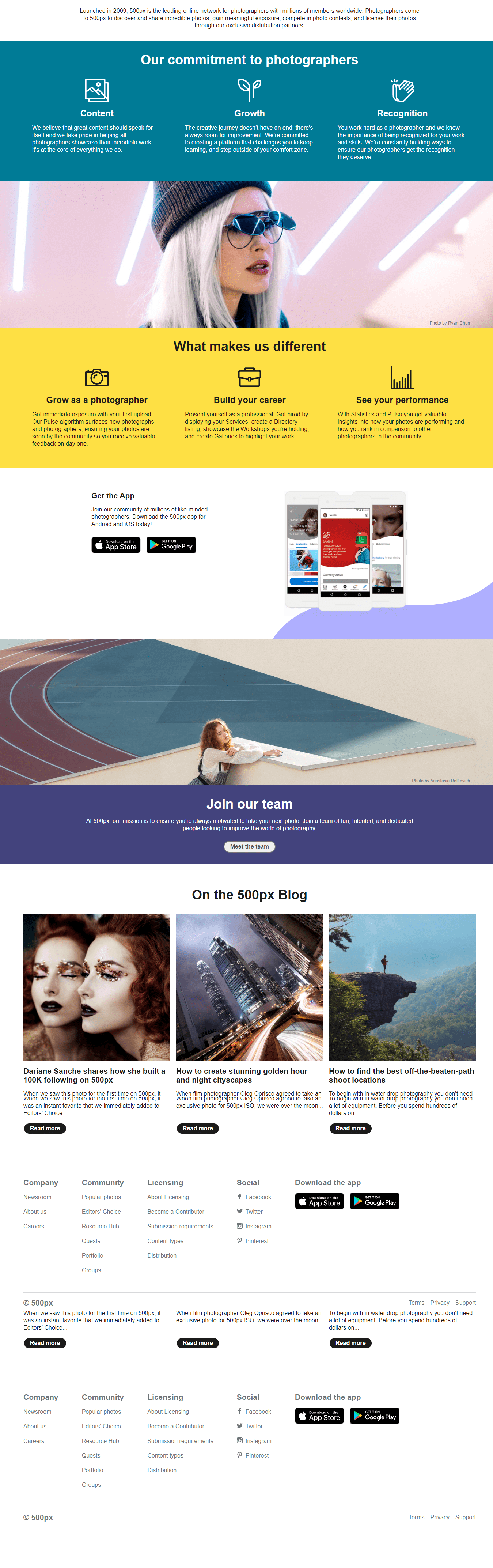 500px about us page
