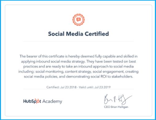 HubSpot-social-media-certification