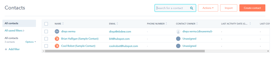 Hubspot Sales Contacts Button