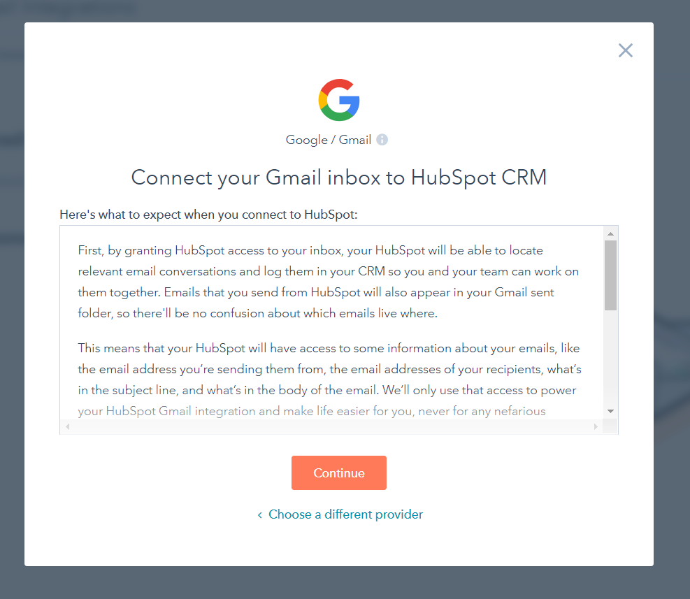 Hubspot Sales Google Gmail Redirected