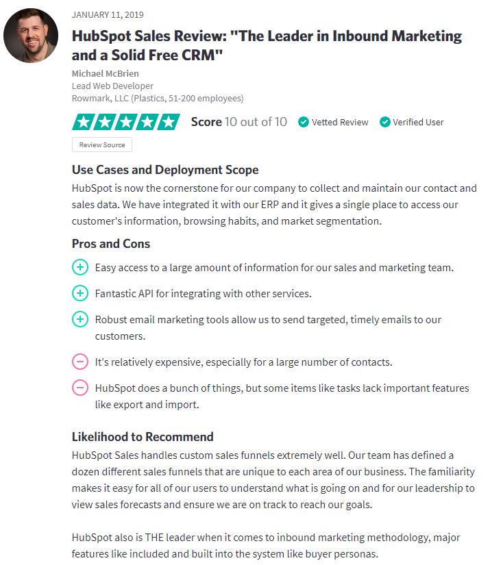 Hubspot Sales Trustradius Review