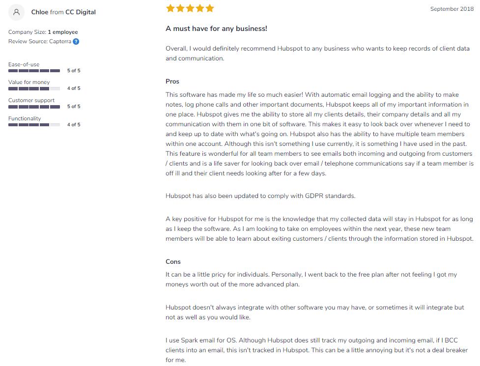 hubspot-sales-softwareadvice-review