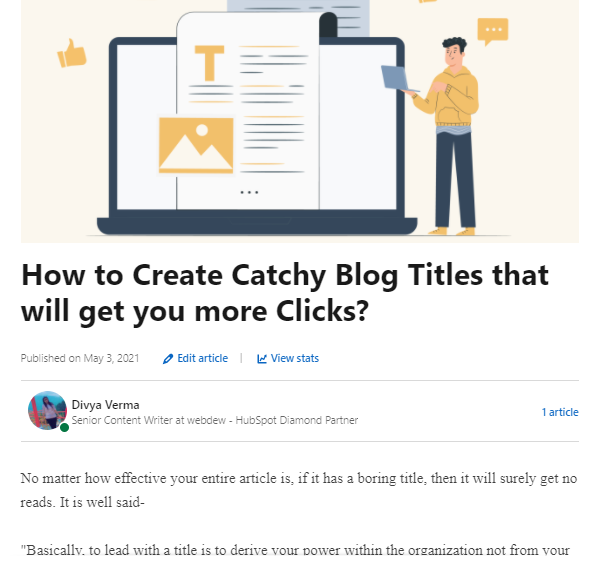 Allow them to publish that article on linkedIn