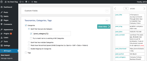 Categories in all imports setting