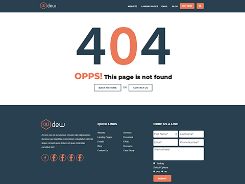 Hubspot Website Template - Dew 404 Page