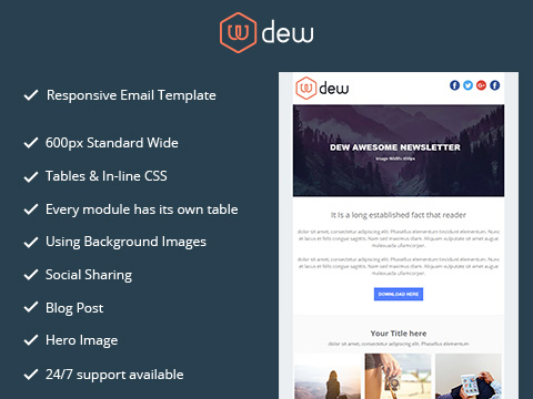 Hubspot Email Template - Dew Email Version 1
