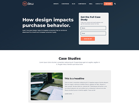 Hubspot Landing Page Template - Dew Case Study Page