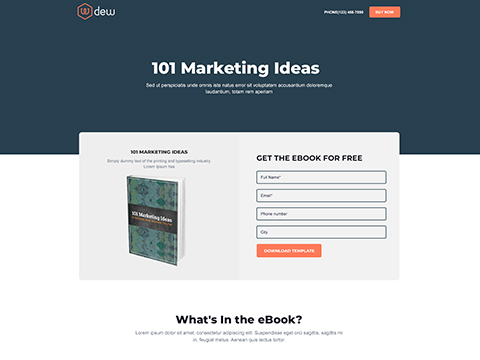 Hubspot Landing Page Template - Dew eBook Page