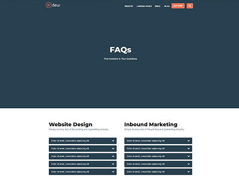 Hubspot Website Template - Dew FAQ Page