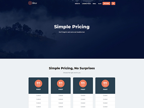 Hubspot Website Template - Dew Pricing Page