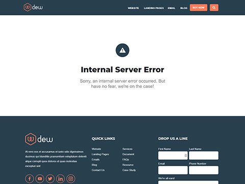 Hubspot Website Template - Dew Server Error Page