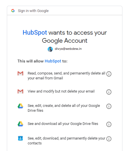 Access your google aacount