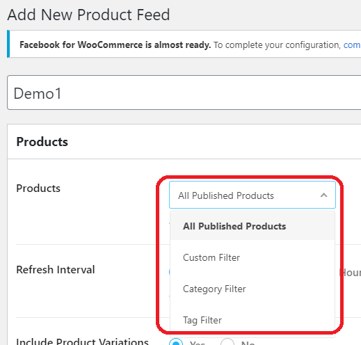 Add new product feed