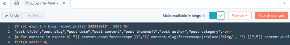 Add wordpress blog codes in hubl