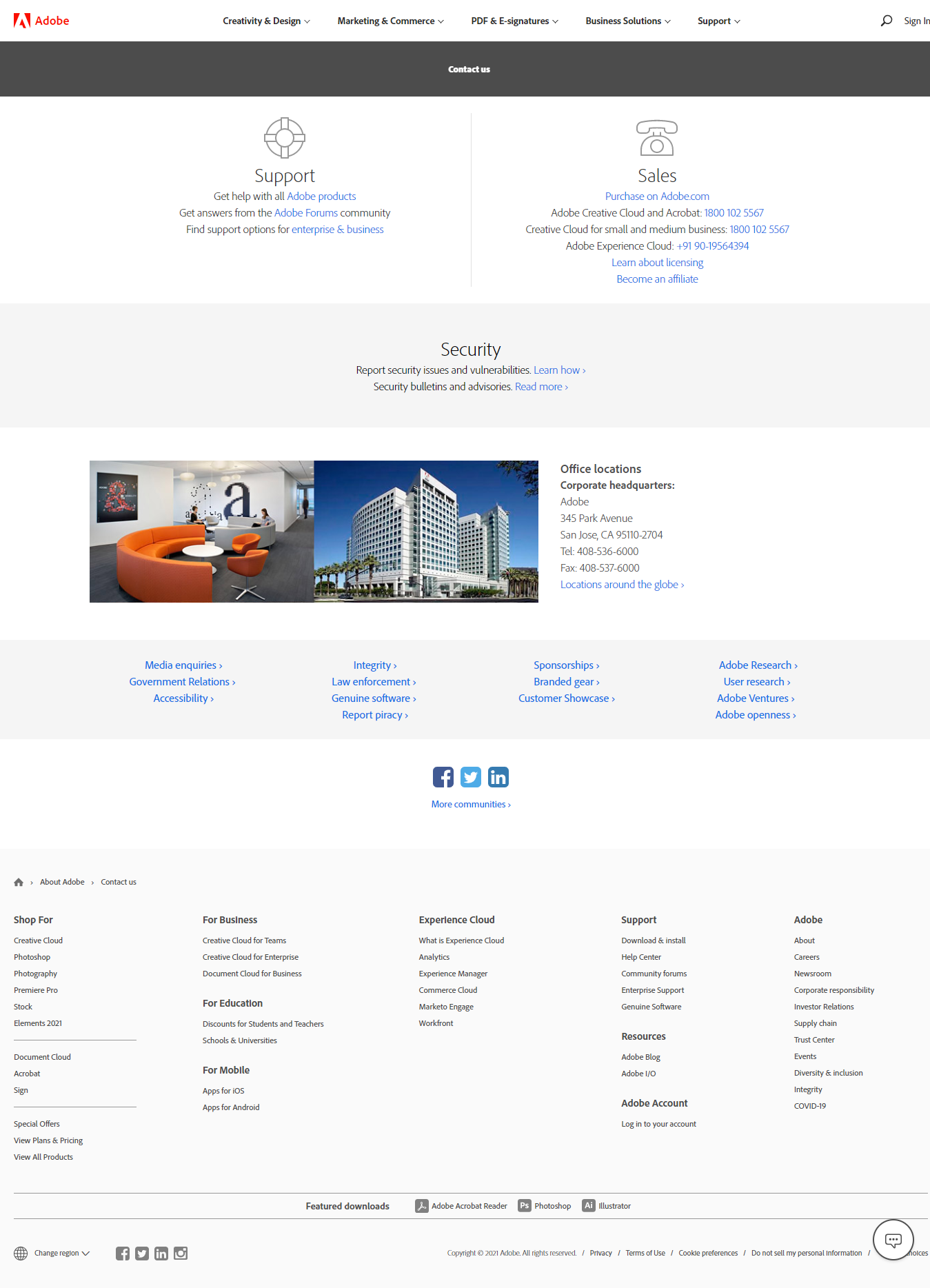 adobe contact us page
