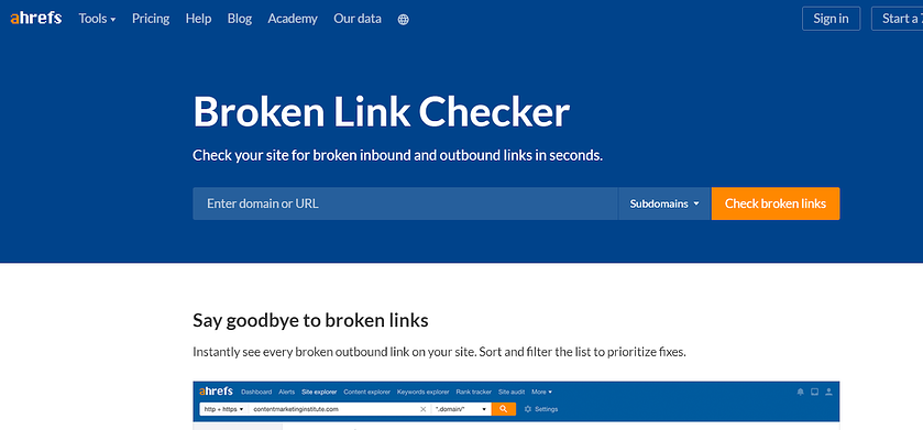 ahrefs-broken-link-checker