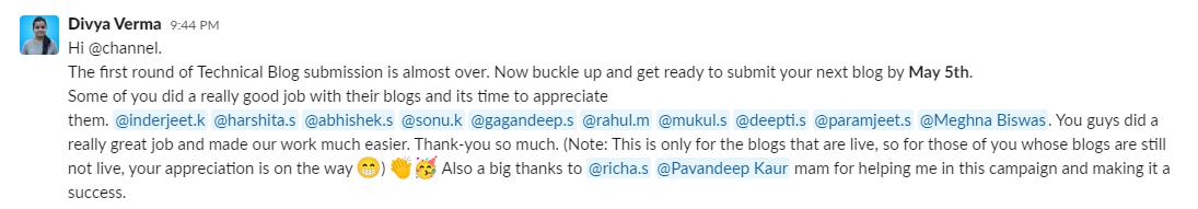 appreciate work- publicly