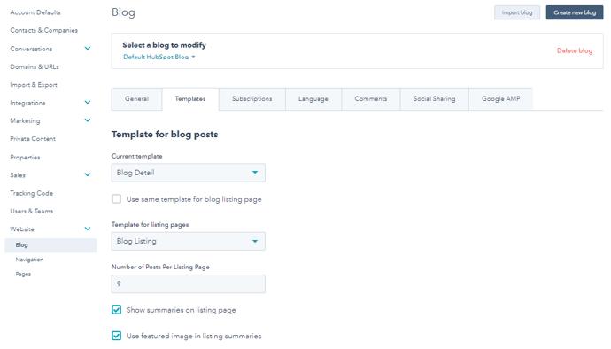 blog post template tab