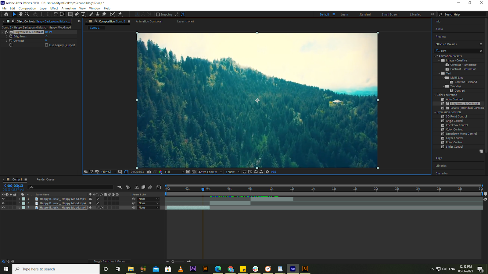 brightness-and-contrast effects-in after-effects