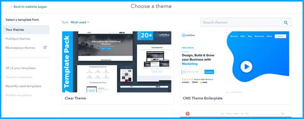 Choose hubspot theme