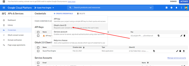 choose oauth client id