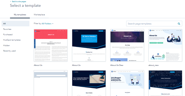 Choose templates from HubSpot Marketplace