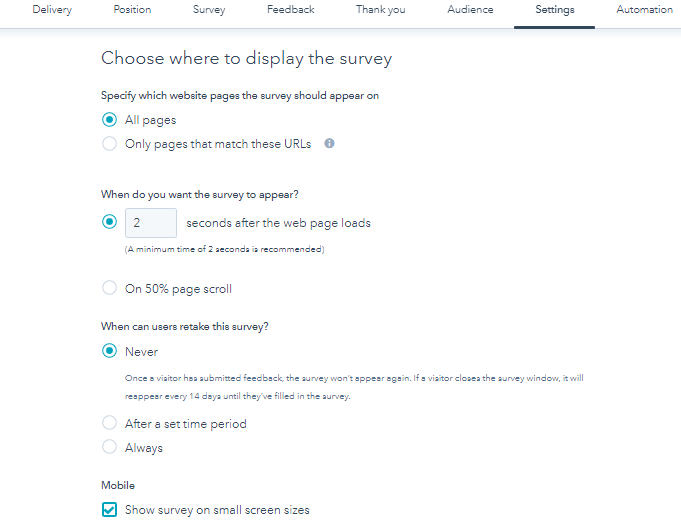 Choose where to display survey