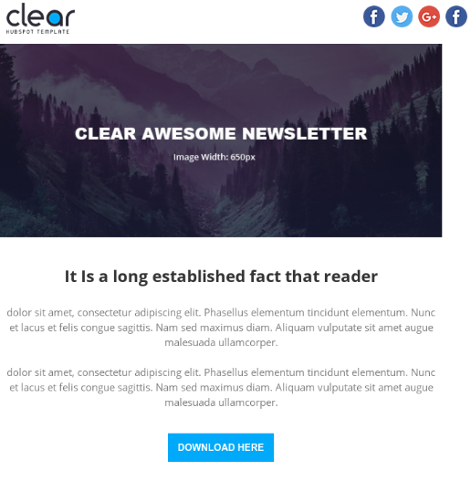 Clear Hubspot Email Template