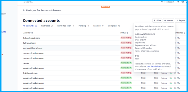 Connected accounts dashboard