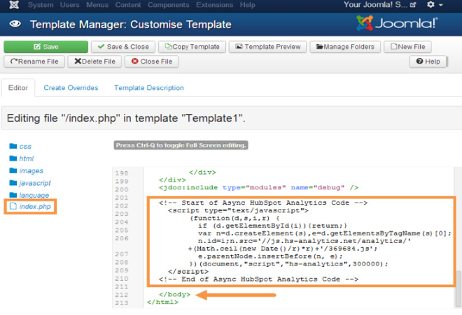Customize template manager