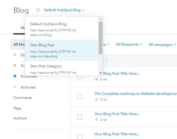 Default hubSpot blog