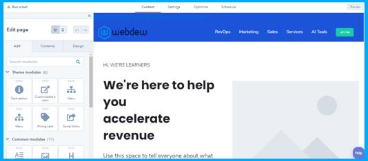 Edit website page desktop