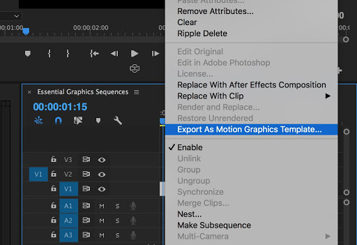 Exporting motion graphics templates