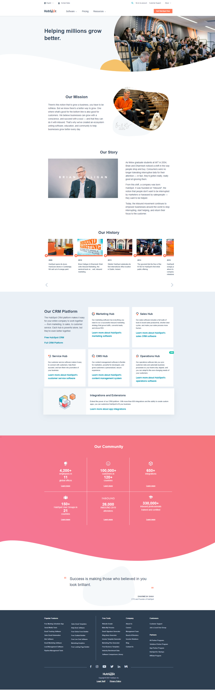 hubspot about us page