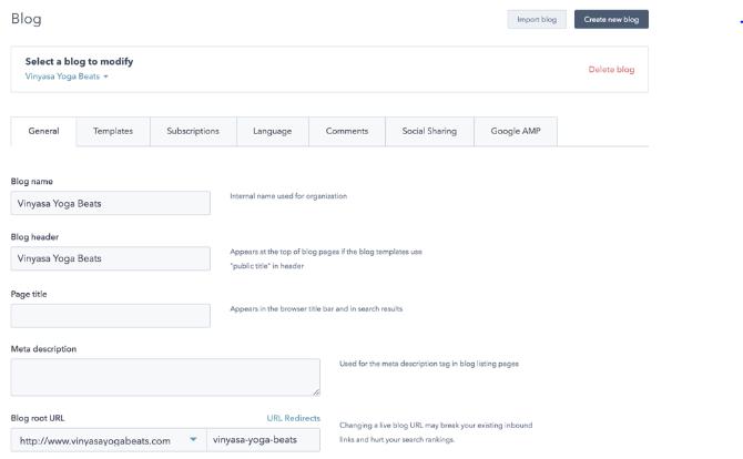 HubSpot blog settings
