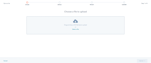 HubSpot CRM - Choose a File to Upload