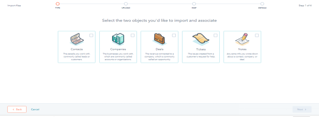 HubSpot CRM - Click on Next button