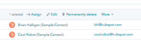 HubSpot CRM - click on the Edit icon