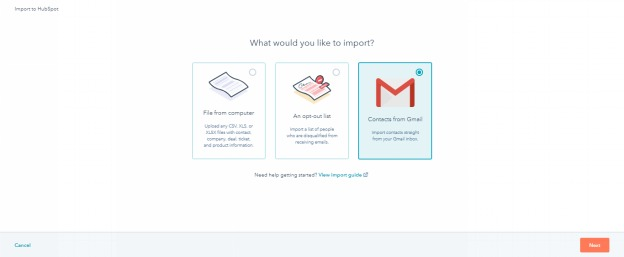 hubspot crm contacts from gmail