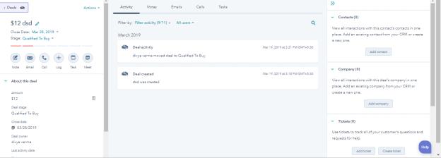 HubSpot CRM  Create Button