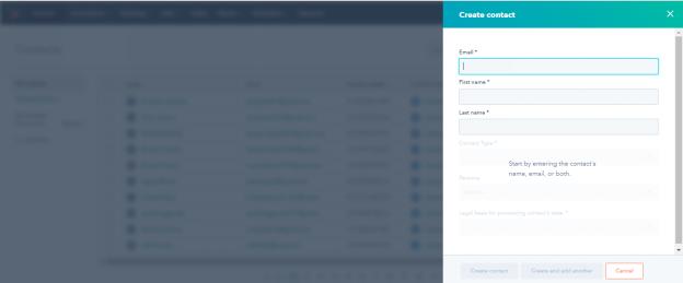 HubSpot CRM - Creating a New Contact