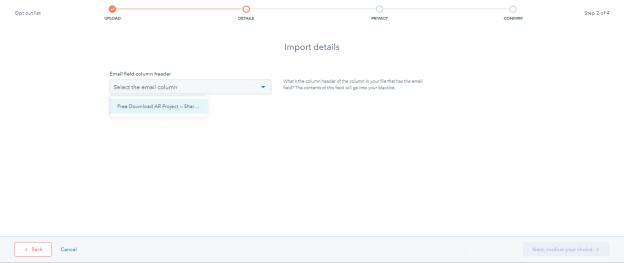 HubSpot CRM - Email Field Column Header