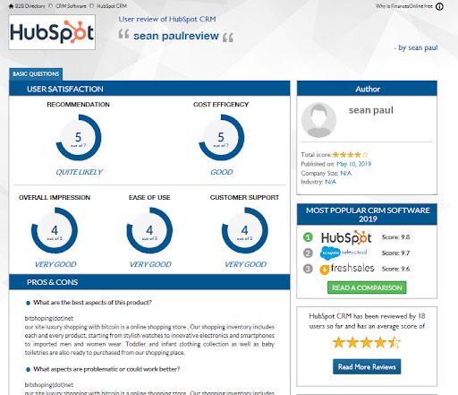 HubSpot CRM Reviews-4 - reviews.financesonline