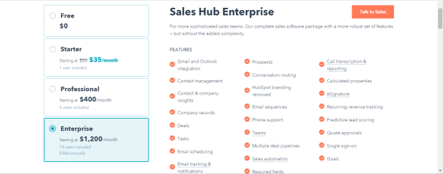 HubSpot CRM - Sales Hub Enterprise