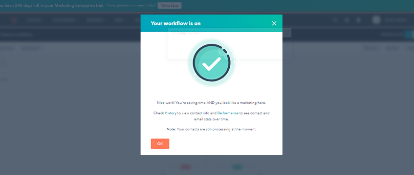 HubSpot CRM Turn on Button