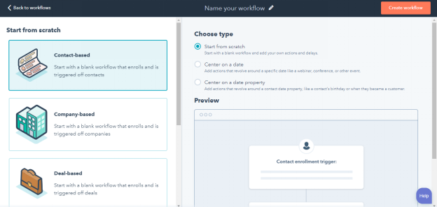 HubSpot CRM - Workflow Type