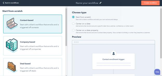 HubSpot CRM  Workflow Type